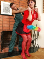Hot sissy in a red-and-black maid uniform gets his mouth and ass boned hard